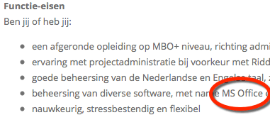 Re-integratie cursus MS Office